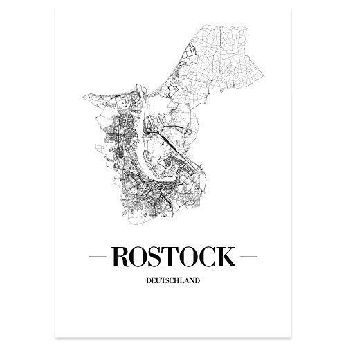 JUNIWORDS Stadtposter - Wähle Deine Stadt - Rostock - 30 x 40 cm Poster - Schrift A - Weiß