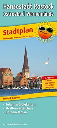 Stadtplan Hansestadt Rostock - Ostseebad Warnemünde: Mit Sehenswürdigkeiten, Straßenverzeichnis und Liniennetzplan, wetterfest, reißfest, abwischbar, GPS-genau. 1:25000