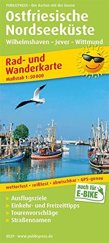 Ostfriesische Nordseeküste, Wilhelmshaven - Jever - Wittmund: Rad- und Wanderkarte mit Ausflugszielen, Straßennamen, Einkehr- und Freizeittipps, ... 1:50000 (Rad- und Wanderkarte: RuWK)