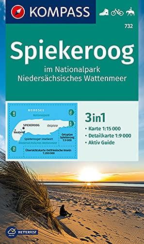 KOMPASS Wanderkarte Spiekeroog im Nationalpark NIedersächsisches Wattenmeer: 3in1 Wanderkarte 1:15000 mit Aktiv Guide und Detailkarte. Fahrradfahren Reiten. (KOMPASS-Wanderkarten, Band 732)