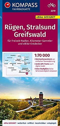 KOMPASS Fahrradkarte Rügen, Stralsund, Greifswald 1:70.000, FK 3319: reiß- und wetterfest mit Extra Stadtplänen (KOMPASS-Fahrradkarten Deutschland, Band 3319)