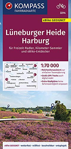 KOMPASS Fahrradkarte Lüneburger Heide, Harburg 1:70.000, FK 3314: reiß- und wetterfest mit Extra Stadtplänen (KOMPASS-Fahrradkarten Deutschland, Band 3314)