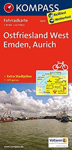 KOMPASS Fahrradkarte Ostfriesland West, Emden, Aurich: Fahrradkarte. GPS-genau. 1:70000 (KOMPASS-Fahrradkarten Deutschland, Band 3031)