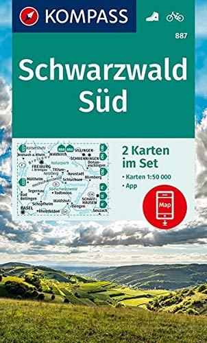 KV WK 887 Schwarzwald Süd (2-K-Set): 2 Wanderkarten 1:50000 im Set inklusive Karte zur offline Verwendung in der KOMPASS-App. Fahrradfahren. (KOMPASS-Wanderkarten, Band 887)