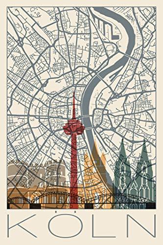 Artland Qualitätsbilder I Poster Kunstdruck Bilder Städte Deutschland Köln Digitale Kunst Creme E2OT Retro Karte Köln Deutschland und Skyline