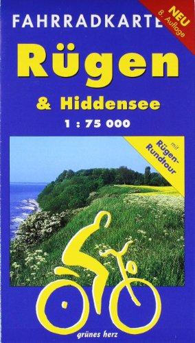 Fahrradkarte Rügen & Hiddensee: Mit Rügen-Rundtour. Maßstab 1:75.000.