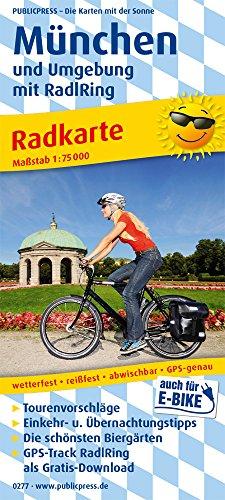 München und Umgebung mit RadlRing: Radkarte mit den schönsten Biergärten, wetterfest, reissfest, abwischbar, GPS-genau. 1:75000 (Radkarte: RK)