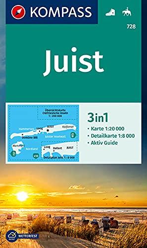 KOMPASS Wanderkarte Insel Juist: 3in1 Wanderkarte 1:20000 mit Detailkarte 1:8000 und Aktiv Guide. Reiten. (KOMPASS-Wanderkarten, Band 728)