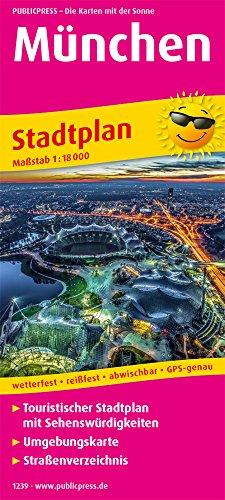 München: Touristischer Stadtplan mit Sehenswürdigkeiten und Straßenverzeichnis. 1:18000 (Stadtplan: SP)
