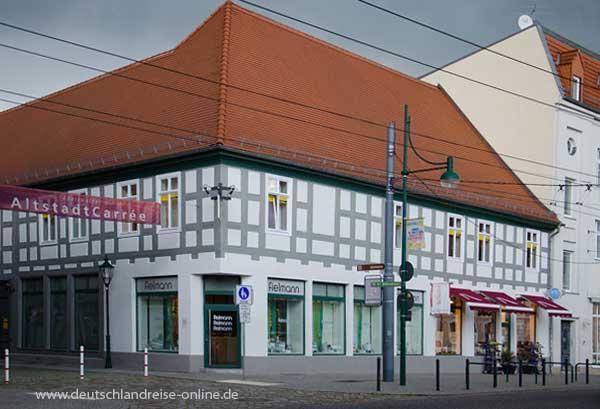 Ein historische Fachwerkhaus am Marktplatz von Eberswalde
