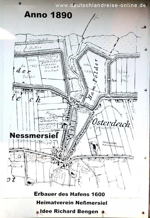 Historisches Neßemersiel - Tafel nähe Altes Sieltor © Deutschlandreise